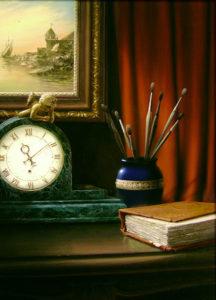 Натюрморт. Часы с ангелом