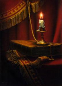 Свеча, библия и кумач