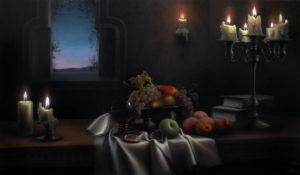 Ужин. Свечи и фрукты