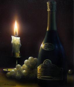 Свеча, вино и виноград